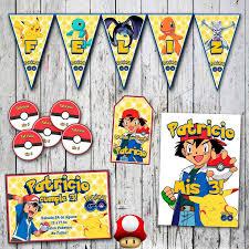 Tukitimprimible Kit Pokemon Invitaciones Stickers Banderin