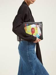 balenciaga print leather pouch