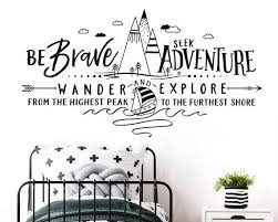 Be Brave Seek Adventure Wander And Explore Wall Decal Etsy Mountain Decal Adventure Nursery Unique Wall Decals