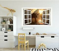 Dino 1 3d Window Wall Decal Sticker Mural Vinyl Dinosaur Jurassic Window Scape Ebay