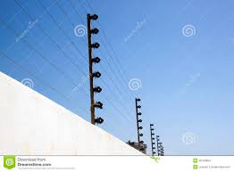 Electric Security Fence On Top Of Boundary Wall Stock Photo Image Of Home Electrical 35194664