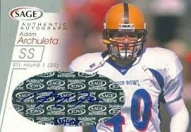 Adam Archuleta autographed football card (Arizona State) 2001 SAGE Rookie  #A2 - Football Autographed Rookie Cards at Amazon's Sports Collectibles  Store