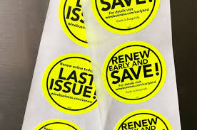 Print Custom Fluorescent Non Weatherproof Stickers With One Standard Ink On Bright Pink Red Green Yellow And Orange Fluorescent Labels In Circle Square Rectangle And Oval Shapes