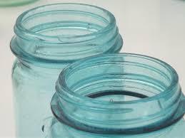 antique blue glass mason jars old zinc