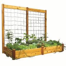 cedar raised garden bed trellis by
