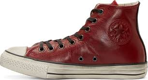 usa red leather converse high tops