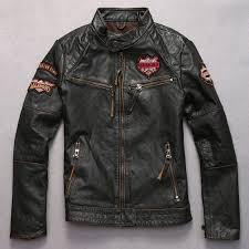 skulls genuine leather jacket men black