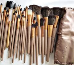 brush set with leather pouch