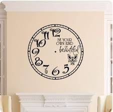 Amazon Com Be Your Own Kind Of Beautiful Clock Face Wall Decal Roman Numerals Time Wall Decal Sticker Art Home Decor Home Kitchen