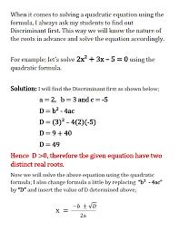 solving quadratic equations using the