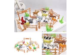 15pcs Pack Plastic Farm Animals Toys Farm Poultry Feed Fence Simulation Model Animal Toy Children Diy Educational Toy Gift Wish