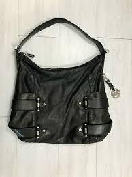 black leather and nylon purse bag