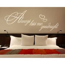 Always Kiss Me Goodnight Quote With Hearts Wall Decal Wall Sticker Vinyl Wall Art Home Decor Wall Mural 1366 39in X 15in White Walmart Com Walmart Com