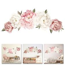Large Peony Rose Flower Art Wall Sticker Living Room Home Background Diy Decal For Sale Online