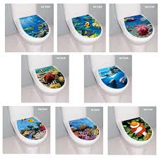 3d Clownfish Dolphin Coral Underwater World Toilet Seat Wall Stickers Landscape Decal Vinyl Home Decor Bathroom Wc Sticker Decor Wall Stickers Aliexpress