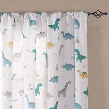 Amazon Com Vangao Printed Curtains For Kids Boys Room 84 Inches White Curtains Dinosaur Pattern Nursery Drapes Window Curtain Panels For Bedroom Rod Pocket 2 Panels Kitchen Dining