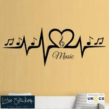 Music Symbols Pulse Script Studio Cool Living Room Wall Art Stickers Decals Viny Ebay