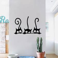 Lovely 3 Black Cute Cats Wall Sticker Modern Cat Wall Stickers Girls Vinyl Home Decor Cute Cat Living Room Children Room Wall Stickers Aliexpress