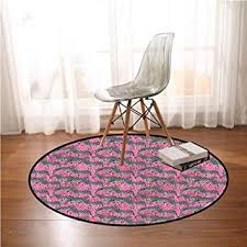 Amazon Com Kids Room Rug Pink Zebra Wild Animals Pastel Circle Area Rugs For Living Room 5 Ft In Diameter Baby