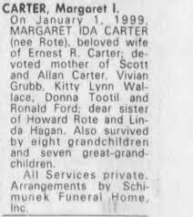Obituary for MARGARET IDA CARTER - Newspapers.com