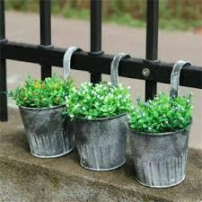 Flower Pots Hanging Balcony Garden Fence Plant Iron Planter Bucket Home Decor Ebay