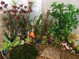 fairy garden with artificial plants