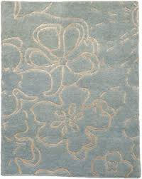 blue flower wool small rug by rug