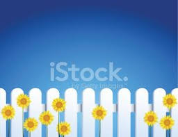 Round Tip White Vinyl Fence And Sunflowers Clipart Images