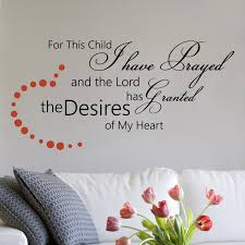 Children Wall Decal For This Child I Have Prayed And The Lord