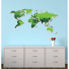 Large Green World Map Decal For Children
