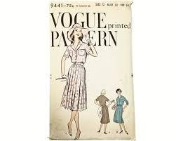 Size 12 Vintage Vogue Pattern 9441 1950's Pleated | Etsy