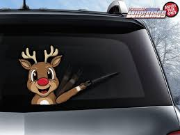 Red Nose Reindeer Wipertag Attach To Rear Vehicle Wiper Blades Wipertags