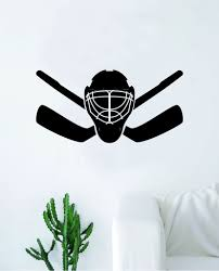 Hockey Goalie Mask Sticks V2 Wall Decal Sticker Vinyl Art Bedroom Room Boop Decals