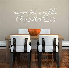 Amazon Com Cuikie Mural Saying Wall Decal Sticker Art Mural Home Decor Quote Italian Quote Mangia Bevi E Sii Felice For Kitchen Dining Room Restaurantfor Nursery Bedrom Home Kitchen