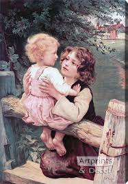 Young Siblings At The Garden Fence Stretched Canvas Art Print By Frederick Morgan At Artprintsanddecor Com