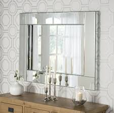 frameless bevelled wall mirror