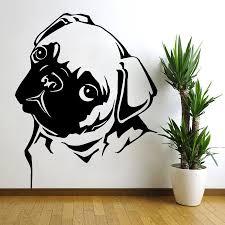 Removable Waterproof Pug Vinyl Wall Decal 28 X 22 Inches Dog Drawing Pug Art Animal Wall Art