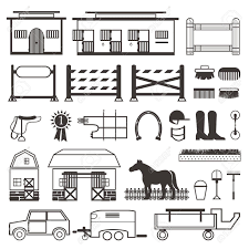 Horse Riding Set Horse Stable Transporter Box Barn Fence Royalty Free Cliparts Vectors And Stock Illustration Image 46724184