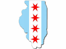 3x5 Inch Illinois Shaped Chicago Flag Sticker 4 Red Stars City Of Native Love Ebay