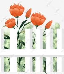 Flowers In The Fence Fence Flower Red Png Transparent Clipart Image And Psd File For Free Download