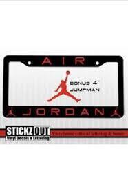 Air Jordan Black Or White License Plate Frame Bonus Vinyl Decal Window Sticker Ebay