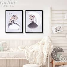 Nordic Watercolor Cartoon Fairy Mouse Elf Swing Girls Angel Canvas Painting Animal Poster Baby Kids Room Decoration Wall Picture Rforum Review