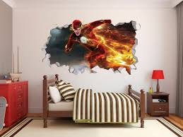 The Flash Wall Decal Decor Sticker Mural Wall Hole 3d Smash Etsy
