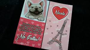 Tarjetas Invitaciones Cumpleanos Perro Bulldog Frances Paris