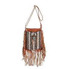 brown boho bag real leather fringe