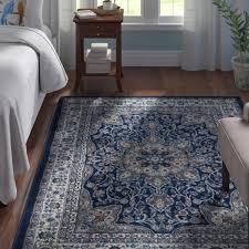 arend medallion navy blue area rug