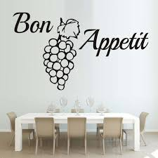 French Word Bon Appetit Wall Decal Grape Quotes Wallpaper Pvc Wall Sticker Kitchen Dining Room Removable Wall Art 3d Home Decor Home Decor Pvc Wall Stickerbon Appetit Aliexpress