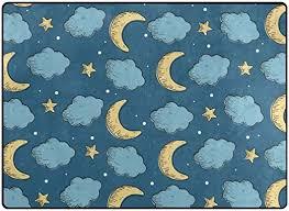 Amazon Com Vantaso Non Slip Nursery Rugs Night Moon And Stars Seamless Soft Foam Play Mats For Kids Bedroom Boys Girls Playing Room Living Room 63x48 Inch Kitchen Dining