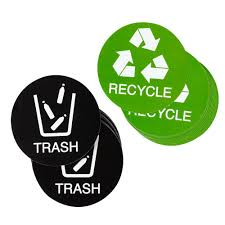 Juvale Recycle Stickers Trash Signs 24 Pack Recycle Logo And Trash Can Sticker Labels For Organizing Garbage Waste Self Adhesive Decal For Home Kitchen Office Bins 4 Inches Diameter Walmart Com Walmart Com