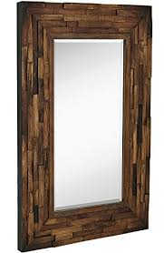 rustic natural wood framed wall mirror